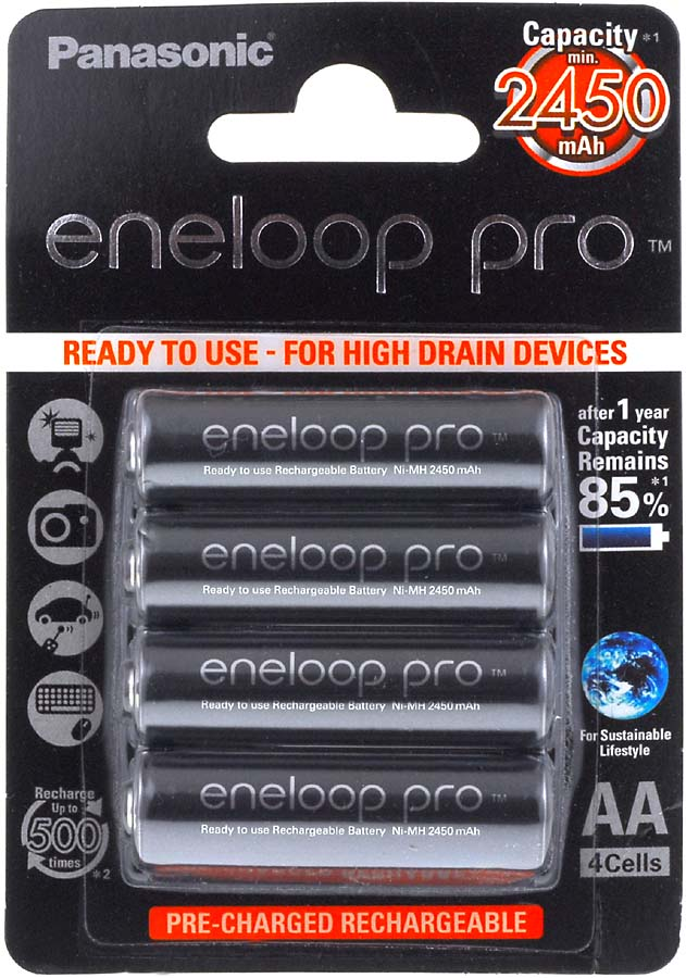Panasonic eneloop Pro BK-3HCCE/4BE 2500mAh 4er Blister